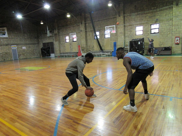 Staff photo by Cathy Spaulding<br /> Youth from seventh through 12th grade can play basketball, volleyball and other games at the Muskogee Teen Center, 322 Callahan St. The center is open 3 to 6:45 p.m. Mondays through Fridays. Daniel Turner, right, and Steven Harris, both 18, face off in a one-on-one game of basketball Monday afternoon at Muskogee Teen Center.