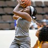 VON CASTOR/Special to the Phoenix<br /> Oklahoma Warriors' Dametria Dawson drives against Kansas City defender last weekend at the Civic Center during her season-high 37-point effort. Dawson and the 4-1 Warriors take on the Dallas Lightning (3-0) on Friday and the Topeka Shock on Sunday, both games at the Civic Center.