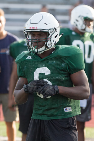 Phoenix special photo by Shane Keeter<br /> Muskogee running back Molijah Gilbert, shown at team camp on Tuesday, got an age waiver to play at 19 this fall.