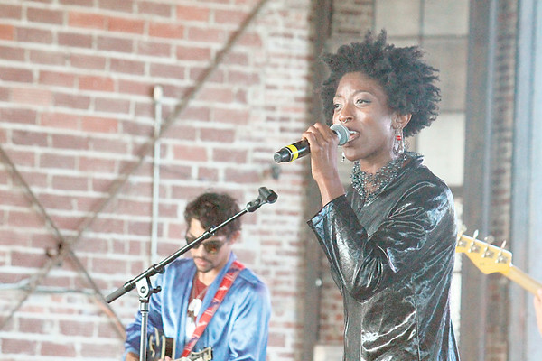 """CHESLEY OXENDINE/Muskogee Phoenix<br /> Branjae belts out the ending to her song """"Addiction"""" during the Soul Fest concert in June. City councilor Wayne Johnson and Soul Fest organizer Jermaine Mondaine believe better promotion could improve attendance at local events."""