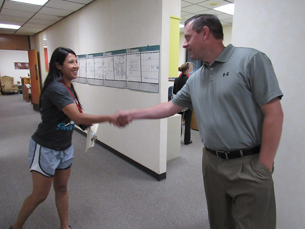 CATHY SPAULDING/Muskogee Phoenix Early Learning Center speech pathologist Ruby Austin meets Fort Gibson Superintendent Scott Farmer. Farmer came to Fort Gibson in June from Sallisaw.