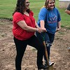 CHESLEY OXENDINE/Muskogee Phoenix<br /> New homeowner Charolette Sanders (left) and her daughter Haley White (right) helped break ground on their new Habitat for Humanity home Wednesday morning.