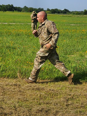 CHESLEY OXENDINE/Muskogee Phoenix<br /> Sgt. First Class Jamison Yager finishes a run during the 2019 Army National Guard Best Warrior Competition. Yager was one of 14 competitors — seven soldiers and seven noncommissioned officers — vying for the chance to represent the Army National Guard in the All-Army Best Warrior Competition.