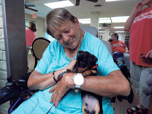 "Staff photo by Wendy Burton<br /> Donna Griffith cuddles ""Fred Mr. Big Benge,"" a chiweenie puppy brought to Pleasant Valley Health Care Center by Fur Babies Adoptions and Rescues on Wednesday. The rescue group brought several dogs, large and small, for residents to enjoy."