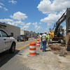 Staff photo by Cathy Spaulding<br /> Traffic along North Main Street is reduced during the repairs.