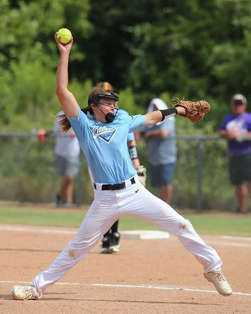 Jose Yau-Phoenix Special Photo<br /> Oklahoma Rays pitcher Mileigh Needham (30) delivers a pitch against East Texas in a 12-4 victory during the Little League Softball Southwest Regional Tournament on Friday in Waco, Texas.