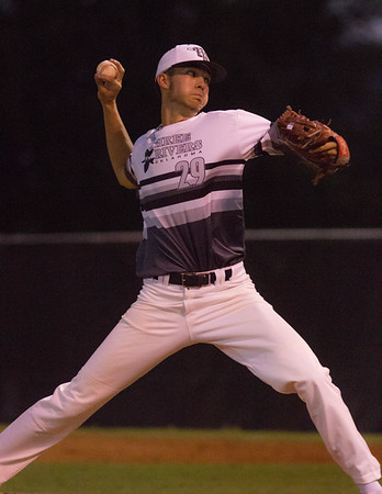 Phoenix special photo by Abigail Washington<br /> Three Rivers' Seth Martin, who played for Checotah High School, delivers a pitch during the Bandits' first-round state playoff game on Thursday in Coweta.