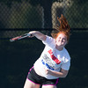 Special photo by Von Castor<br /> Katie Schneider of Tahlequah serves in the first doubles match Tuesday in the All- State games at Case Tennis Center on the campus of the University of Tulsa.