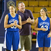 Phoenix special photo by Von Castor<br /> Desiree Phipps, Coach Jerry Walker and Allie Glover are introduced at the large schools All State game Wednesday night at the ORU Mabee Center in Tulsa.