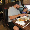 Joe Hogan has a late lunch with his daughter, Harper, 5, at La Isla Mexican restaurant. His other daughter, Halle, 8, joined them.