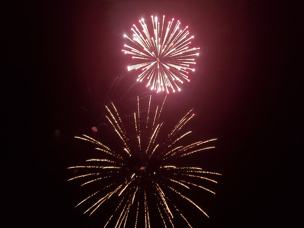 Fireworks blossom across the sky during the Muskogee First Assembly of God's Freedom Celebration event Thursday evening.