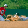 Special photo by Von Castor<br /> Three Rivers' Jake Northern slides into second with a double ahead of the tag during Tuesday's game against American Baseball Club at Carr O'Dell Tiger Field in Fort Gibson.