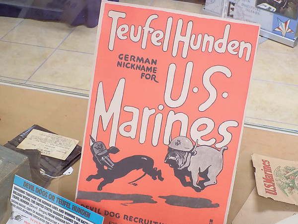 "Staff photo by Mike Elswick<br /> German for ""Devil Dogs"" was the nickname German soldiers gave to U.S. Marines during World War I as depicted in this German poster that had been stored in a closet for decades."
