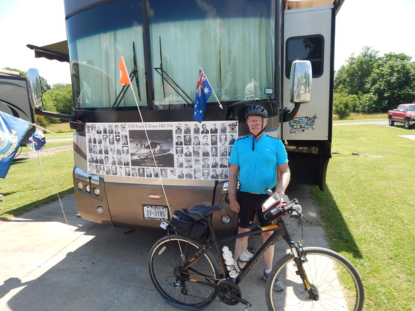 Staff photo by Mark Hughes<br /> Del Francis, 74, of Sulphur Springs, Texas, is riding to make a difference. He wants the names of his 74 shipmates who died in a 1969 naval exercise in the South China Sea during the Vietnam War listed on the Vietnam War Memorial. In the exercise, which included 47 ships from seven nations, the destroyer USS Frank E. Evans made a wrong turn directly into the path of the Australian warship HMAS Melbourne, which cut the Evans' keel in half. Of the 272 sailors on board, 198 survived. Three of the dead were brothers. Francis hopes to make it to Washington, D.C., by August.