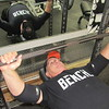 CATHY SPAULDING/ Muskogee Phoenix<br /> Ron Hood practices bench pressing at Strictly Fitness. He said he has bench pressed as much as 560 pounds in his later years.