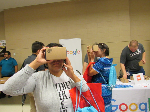 Staff photo by Cathy Spaulding<br /> Ashley Bruner, left, and Dawn Thompson, both of the Muscogee (Creek) Nation, look through Google 3-D viewers at the summit.