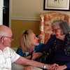 ABIGAIL HALL/Muskogee Phoenix<br /> Raymond Sewell, left, and his daughter Lana Reed, visits Raymond's wife of 70 years June at Broadway Manor.