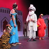 """Princess Jasmine (Annie Miller, second left) confronts her father, the Sultan (Ethan Walker, third left) while Iago, the parrot (Kylie Windrix) and Jafar (Angelina Simmons) plot their evil deeds in """"Aladdin Jr."""" Brooklyn Bracken plays Raja, the tiger in the Muskogee Little Theatre Summer Youth Theater performance."""
