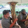 CATHY SPAULDING/ Muskogee Phoenix<br /> Michael Yadon, left, and Andrew Bryson play tuba with Muskogee Community Band during Symphony in the Park, held Saturday at Honor Heights Park.