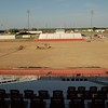 NATHAN DEAL/Muskogee Phoenix<br /> A view of the field from the Hilldale press box. Dirt work has set up the layers of surface material before artificial turf is installed.