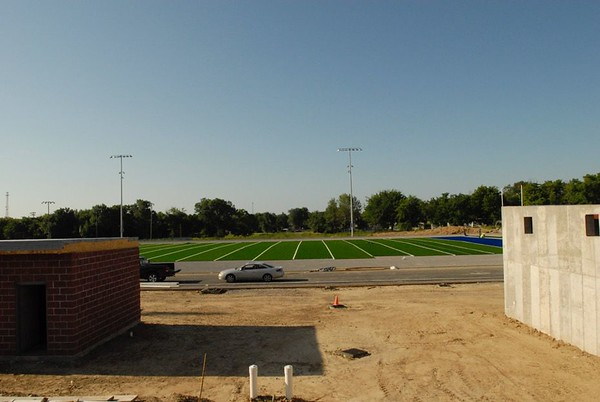 NATHAN DEAL/Muskogee Phoenix<br /> Porter football field has a portion of turf on as the season nears.