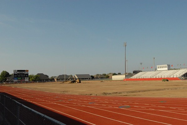 NATHAN DEAL/Muskogee Phoenix<br /> Dirt work to prepare for the base for the new artificial turf at Hilldale High School has been done.