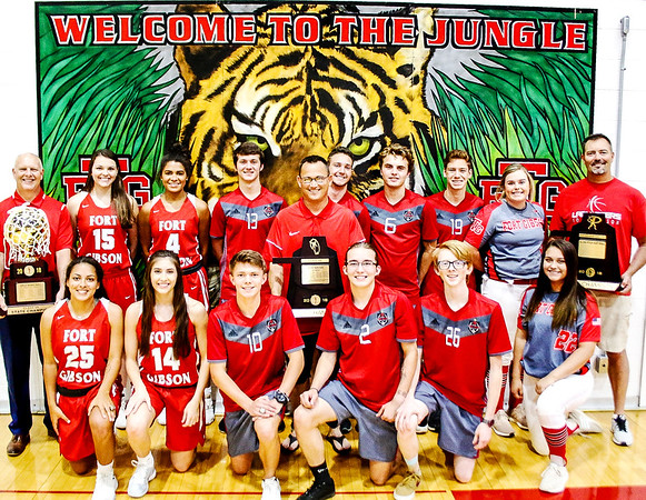 JOHN HASLER/Phoenix special photo<br /> Fort Gibson seniors from basketball, soccer and slowpitch with their coaches and trophies, a big part of why Fort Gibson won the School of the Year honor again.