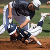 Phoenix special photo by Von Castor<br /> Three Rivers first baseman Jordan Waller tags out a Fort Smith baserunner Tuesday afternoon at Coweta.