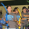 Staff photo by Cathy Spaulding<br /> Irving Elementary archery team members, from left, Damarius Williams, Faith Leard, Maritza Chavez and Stephanie Castillo aim at targets. The team recently won a state contest.