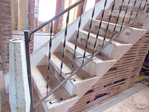 A dusty stairway leads to the second floor of Fort Gibson Historic Site's old hospital. Oklahoma Historical Society is renovating the building into a visitor center, offices and display area.