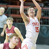 VON CASTOR/Special to the Phoenix<br /> Fort Gibson's Jaiden Graves scores inside the paint against Holland Hall on Friday at Skiatook.