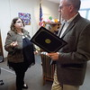 Staff photo by Mike Elswick<br /> Jade Day, an advocate for improving treatment and research for rare diseases, visits with Muskogee Mayor Bob Coburn at City Hall on Wednesday afternoon. Earlier Wednesday morning she returned from Washington, D.C., where she and other advocates met with representatives of lawmakers.