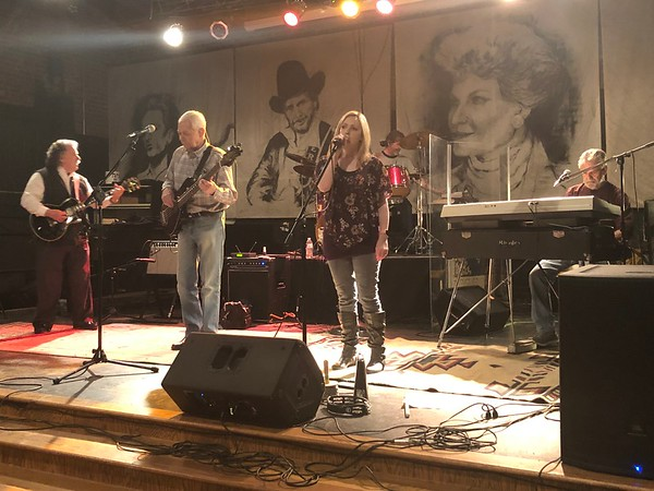 CHESLEY OXENDINE/Muskogee Phoenix<br /> Members of the Don Price Band, from left, Don Price, Wayne Buck, Jennifer Gasperich and Joe Roark set up at the Oklahoma Music Hall of Fame. The group performs tonight.