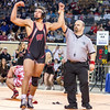 Phoenix special photo by Samuel Perry<br /> Wagoner's Malcolm Rodriguez is declared the winner in the Class 4A, 182-pound championship match earlier last month. Rodriguez defeated Fort Gibson's Justin Cates (background left), who one of four finalists for the All-Phoenix Wresstler of the Year award which goes to Rodriguez.