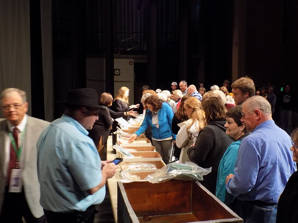 Special photo by Mike Elswick<br /> The contents of a time capsule buried in 1967 were spread out on several tables Saturday evening for viewing by members of the class of 1967 and those of this year's MHS graduating class who were on hand for a ceremony to turn the items over to the class of 2017.