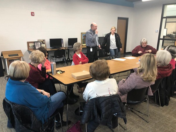 CHESLEY OXENDINE/Muskogee Phoenix<br /> Ward 4 Councilor Wayne Johnson and Ward 2 Councilor Jaime Stout discuss concerns over the Hatbox Dance Building and Kiwanis Senior Citizens Center, both of which are used as spots for senior citizen dance groups.