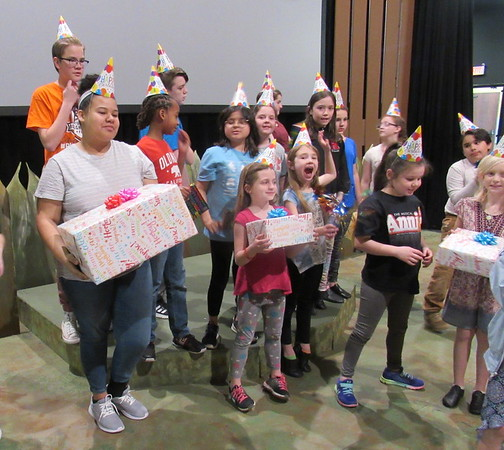 "CATHY SPAULDING/Muskogee Phoenix<br /> ""Beat Bugs"" cast members are going to a ""party, party,"" in the Muskogee Little Theatre Spring Theater Camp production."