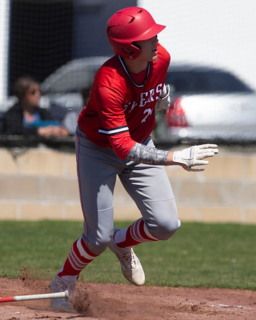 VON CASTOR/Special to the Phoenix<br /> Fort Gibson's Carson Ladd doubles in the top of the seventh inning against Checotah.