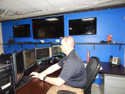 Staff photo by Kenton Brooks Jeff Smith, the director of Muskogee County Emergency Management, checks radar in his office as the upcoming storm season approaches.