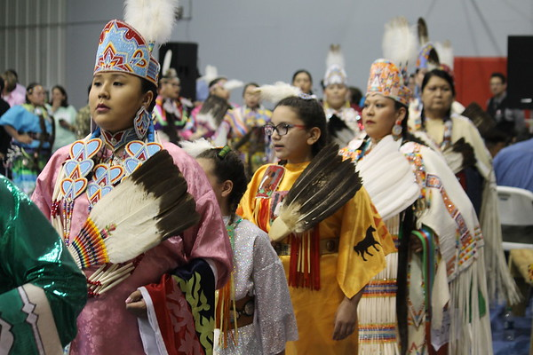 Special photo by Chesley Oxendine<br /> Dancers celebrate the Grand Entry at Bacone College's 2018 Spring Contest Powwow, which formally begins the  competitive portion of the ceremony.