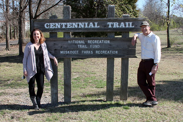 Special photo by Molly Day<br /> Brooke Hall (left) is recreation manager for Muskogee Parks and Recreation. Doug Walton (right) is Healthy Living coordinator for Muskogee Health Department.