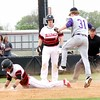 Phoenix special photo by John Hasler<br /> Hilldale's Dee Folsom slides safely across home plate before Bristow's Matt Floyd, right, has a chance to tag him while Folsom's teammate Kort Morgan, center, watches during Tuesday's game at Hilldale.