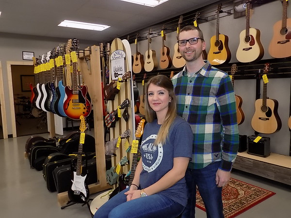 MIKE ELSWICK/Muskogee Phoenix<br /> ZOMAC School of Music owners Jennifer and Jeffrey Jones recently moved their business to a newly remodeled space at 123 E. Okmulgee Ave.