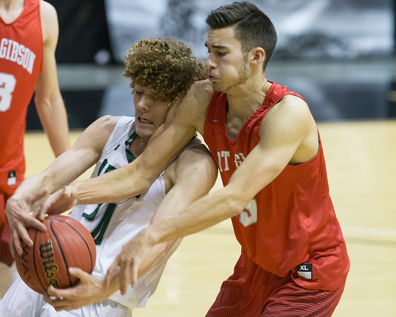 Phoenix special photo by Von Castor<br /> Fort Gibson's Seth Martin and Catoosa's Mike Dillon battle for a rebound Saturday night in a 4A Area 4 consolation game at Skiatook. The Tigers lost 65-48.