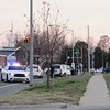 Staff photo by Cathy Spaulding<br /> Muskogee Police investigate the scene of a collision that ended at East Side Boulevard and Broadway. The collision occurred shortly before 6 p.m. Wednesday at East Side Boulevard and Callahan Street.<br /> According to Muskogee police, a white Saturn struck a maroon Nissan Sentra, then went south on East Side Boulevard before stopping at Broadway.<br /> Police did not release the names of the persons involved.<br /> A Muskogee County Emergency Medical Service spokeswoman said two ambulances were called to the scene.