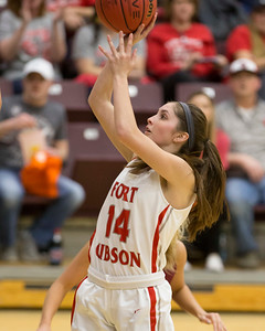 Phoenix special photo by Von Castor Fort Gibson's Kayci Glover scores during the third quarter Thursday afternoon in the 4A girls quarterfinal game against Tuttle at Southern Nazarene University in Bethany. The Lady Tigers won 56-31. Glover will play college ball at SNU.