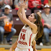 Phoenix special photo by Von Castor<br /> Fort Gibson's Kayci Glover scores during the third quarter Thursday afternoon in the 4A girls quarterfinal game against Tuttle at Southern Nazarene University in Bethany. The Lady Tigers won 56-31. Glover will play college ball at SNU.