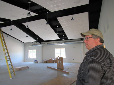 CATHY SPAULDING/Muskogee Phoenix Muskogee Church of Christ Executive Minister Greg Vanderveer looks around the fellowship hall area to be included in the church's 5,000-square-foot addition.