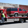 Staff photo by Harrison Grimwood<br /> Three people were transported to an area hospital after two cars collided while trying to make it through a yellow light at Main Street and West Okmulgee Avenue, Muskogee Police Officer Michelle Casady said. A red Chevrolet 1500 sports utility vehicle, driven by Whitney Royse, was northbound on Main Street when a black Nissan Frontier, driven by Charles Heaton, southbound on main, attempted to make a left turn to go eastbound, Casady said. The vehicles collided. Casady said the black Nissan failed to yield. Royse and her two passengers, Sara Royse and McKinzee McGrew, were transported to EASTAR Health System for treatment. Whitney Royse and McGrew were listed in good condition Tuesday evening. A condition on Sara Royse was not available.