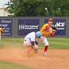 PATRICK KAYS/Phoenix Special Photo<br /> Oktaha's Brock Rodden, left, attempts to avoid a force out at second in Friday's Class 2A semifinal game against Dale.